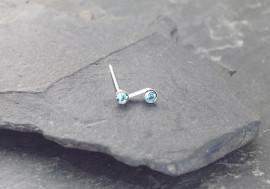 Piercing nez S deux pierres - bleu turquoise