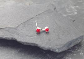 Piercing nez S deux pierres - rouge