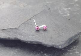 Piercing nez S deux pierres - rose