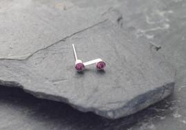 Piercing nez S deux pierres - violet