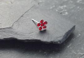 Piercing nez argent fleur - rouge