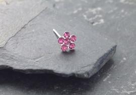 Piercing nez argent fleur - rose