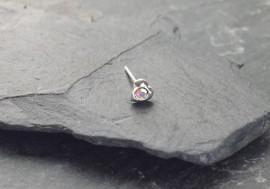 Piercing nez coeur et pierre - blanc irisé