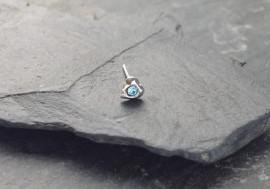 DESTOCKAGE Piercing nez coeur et pierre - bleu turquoise