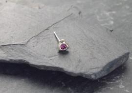 Piercing nez coeur et pierre - violet