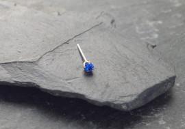 Piercing nez argent massif strass bleu