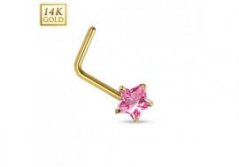 Piercing nez or jaune étoile rose tige en L