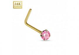 Piercing nez or pierre rose 2mm tige en L