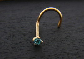 Piercing or massif 14k pierre turquoise 2mm