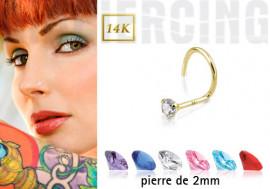 Piercing nez or pierre 2mm