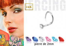 Piercing nez pierre 2mm (or gris)