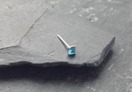 Piercing nez pierre carrée - bleu turquoise