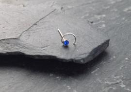Piercing nez spirale et pierre - bleu foncé