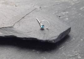 Piercing nez spirale et pierre - bleu turquoise