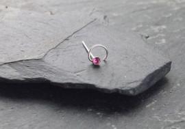 Piercing nez spirale et pierre - rose