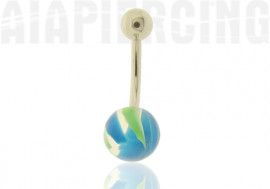 DESTOCKAGE Piercing nombril paint bleu et vert