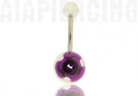 Piercing nombril rose violette