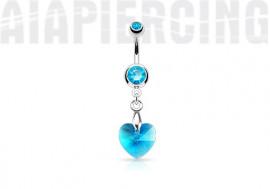 Piercing nombril coeur de cristal bleu
