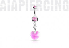 Piercing nombril coeur de cristal rose