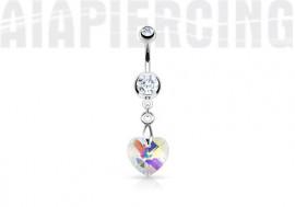 Piercing nombril coeur de cristal blanc irisé