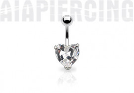 Piercing nombril coeur blanc