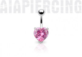 Piercing nombril coeur rose
