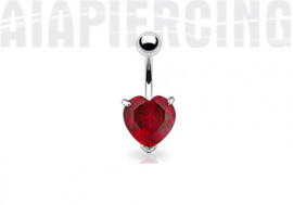piercing nombril coeur rouge griffé