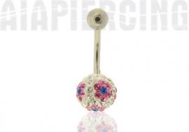 piercing nombril fleurs roses et bleues