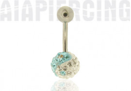 Piercing nombril ying yang bleu clair