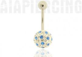 Piercing nombril cristaux de Swarovski points bleus