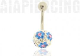 piercing nombril fleurs bleues et roses