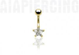 Piercing nombril plaqué or étoile blanche