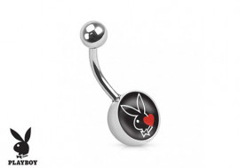 Piercing nombril Playboy® lapin noir coeur