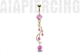 Piercing nombril cascade plaqué or pierres roses