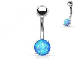 Piercing nombril acier opale bleue