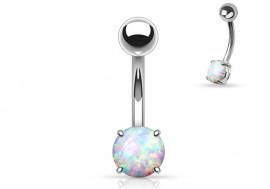 Piercing nombril acier opale blanche