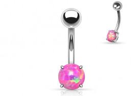 Piercing nombril acier opale rose