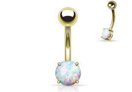 Piercing nombril plaqué-or opale