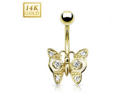 Piercing nombril papillon pierres rondes