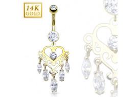 Piercing nombril chandelier coeur avec pierres
