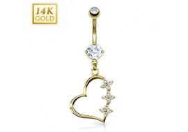 Piercing nombril pendentif coeur et fleurs