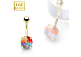 Piercing nombril pierre ronde multicolor