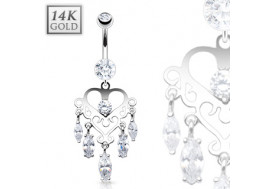 Piercing nombril coeur chandelier avec pierres
