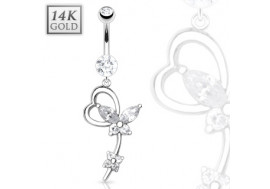 Piercing nombril papillon et coeur