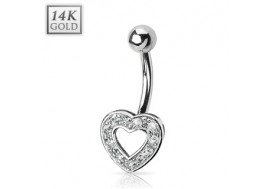 Piercing nombril coeur serti de pierres