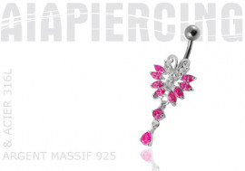 Piercing nombril argent papillon fushia