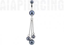 piercing nombril pendentif perles noires