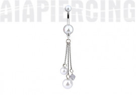 Piercing nombril pendentif perles blanches