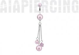 Piercing nombril pendentif perles roses