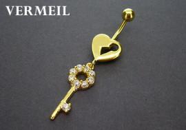 Piercing nombril argent vermeil coeur clé